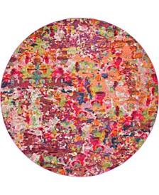 Crisanta Crs1 Magenta 8' x 8' Round Area Rug