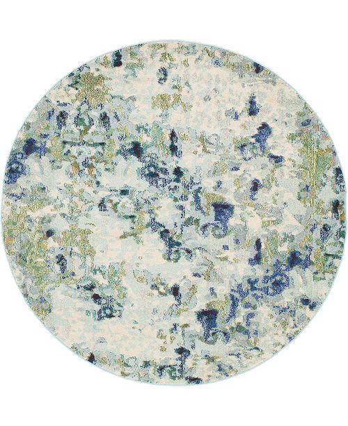 Bridgeport Home Crisanta Crs1 Light Blue 6' x 6' Round Area Rug