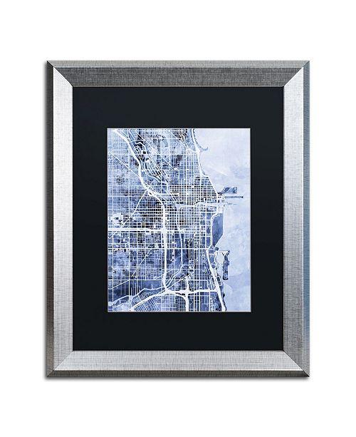 "Trademark Global Michael Tompsett 'Chicago City Street Map B&W' Matted Framed Art - 16"" x 20"""