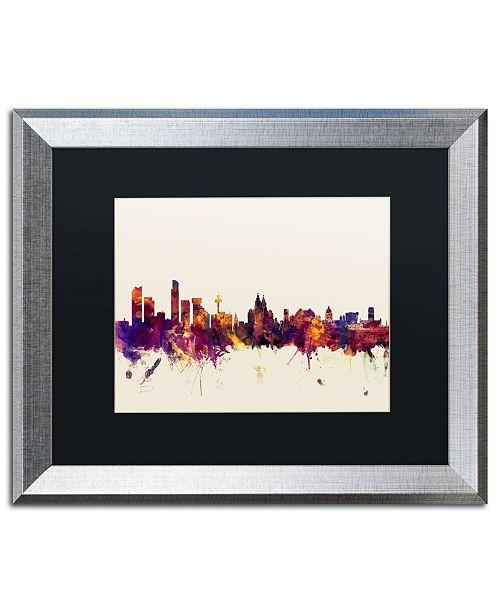 "Trademark Global Michael Tompsett 'Liverpool England Skyline' Matted Framed Art - 16"" x 20"""