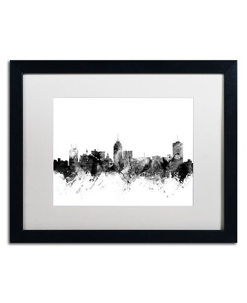 "Trademark Global Michael Tompsett 'Fresno California Skyline B&W' Matted Framed Art - 16"" x 20"""