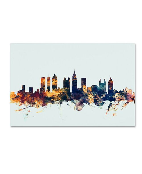 "Trademark Global Michael Tompsett 'Atlanta Georgia Skyline Blue' Canvas Art - 16"" x 24"""