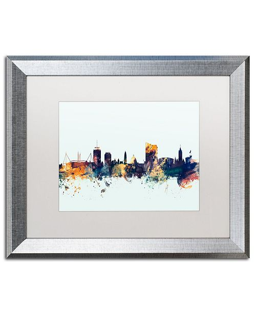 "Trademark Global Michael Tompsett 'Cardiff Wales Skyline Blue' Matted Framed Art - 16"" x 20"""