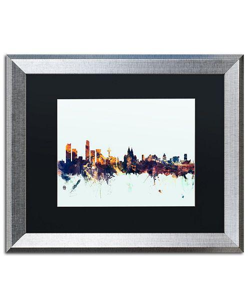 "Trademark Global Michael Tompsett 'Liverpool England Skyline Blue' Matted Framed Art - 16"" x 20"""