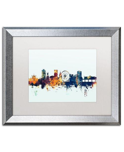 "Trademark Global Michael Tompsett 'Brighton England Skyline Blue' Matted Framed Art - 16"" x 20"""
