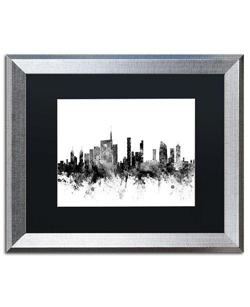 """Trademark Global Michael Tompsett 'Milan Italy Skyline B&W' Matted Framed Art - 16"""" x 20"""""""