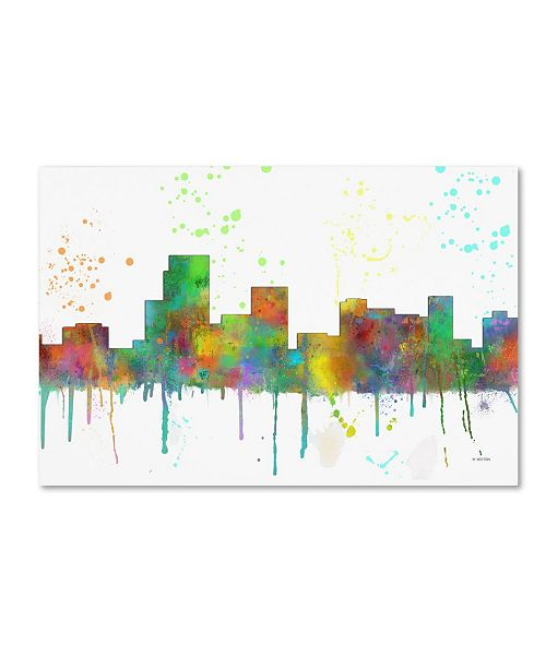 "Trademark Global Marlene Watson 'Parsippany New Jersey Skyline Mclr-1' Canvas Art - 16"" x 24"""