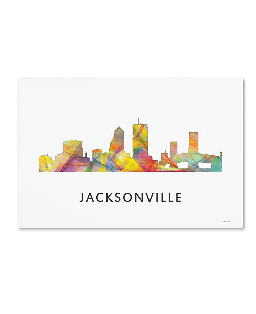 "Trademark Global Marlene Watson 'Jacksonville Florida Skyline WB-1' Canvas Art - 16"" x 24"""