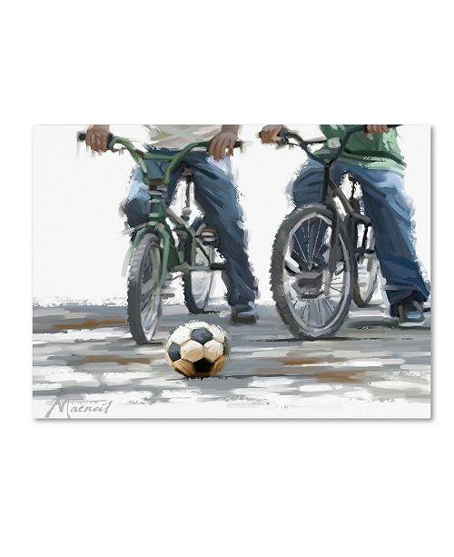 "Trademark Global The Macneil Studio 'Cyclists with Football' Canvas Art - 18"" x 24"""
