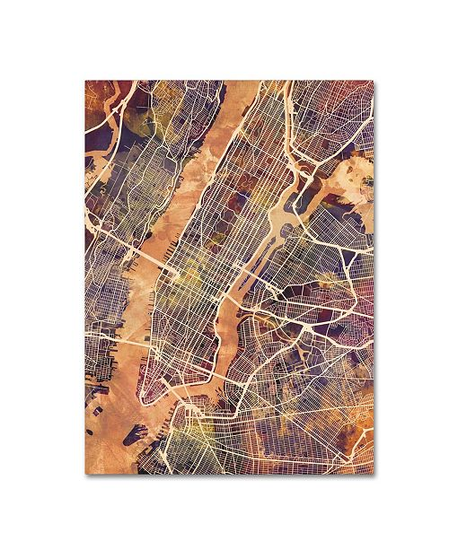 "Trademark Global Michael Tompsett 'New York City Street Map' Canvas Art - 18"" x 24"""