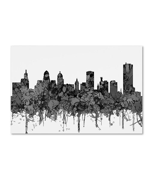 """Trademark Global Marlene Watson 'Buffalo New York Skyline BW' Canvas Art - 16"""" x 24"""""""