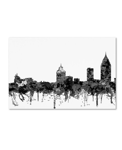 "Trademark Global Marlene Watson 'Mobile Alabama Skyline BW' Canvas Art - 16"" x 24"""