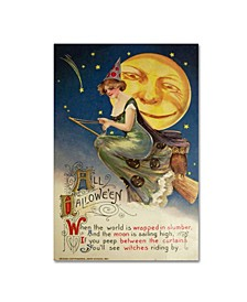 """Vintage Apple Collection 'Halloween Witch Green Dress Moon' Canvas Art - 16"""" x 24"""""""