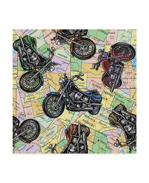 "Trademark Global Jean Plout 'Motorcycle Travel' Canvas Art - 18"" x 18"""
