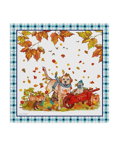 """Trademark Global Jean Plout 'Fall Dogs' Canvas Art - 18"""" x 18"""""""