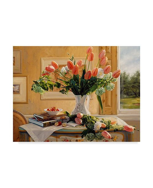"""Trademark Global Robin Anderson 'French Tulips And Crab Apples' Canvas Art - 18"""" x 24"""""""
