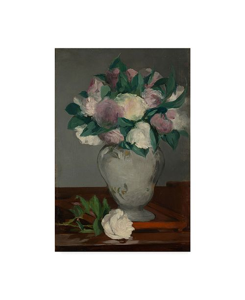 "Trademark Global Edouard Manet 'Peonies' Canvas Art - 19"" x 12"""