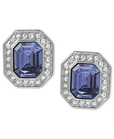 Carolee Earrings, Silver-Tone Emerald-Cut Clip-On Earrings