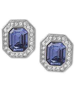 Carolee Earrings, Silver-Tone Emerald-Cut Clip-On Earrings