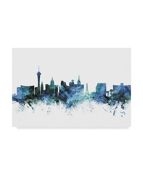 "Trademark Global Michael Tompsett 'Las Vegas Nevada Blue Teal Skyline' Canvas Art - 19"" x 12"""