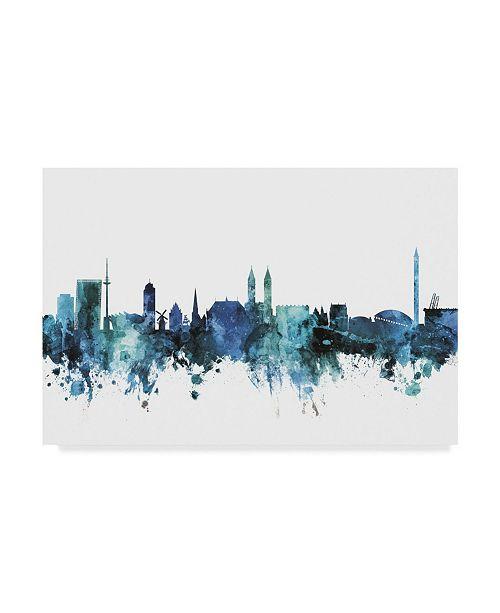 "Trademark Global Michael Tompsett 'Bremen Germany Blue Teal Skyline' Canvas Art - 19"" x 12"""