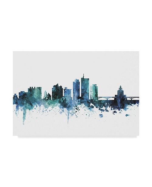 "Trademark Global Michael Tompsett 'Cedar Rapids Iowa Blue Teal Skyline' Canvas Art - 19"" x 12"""