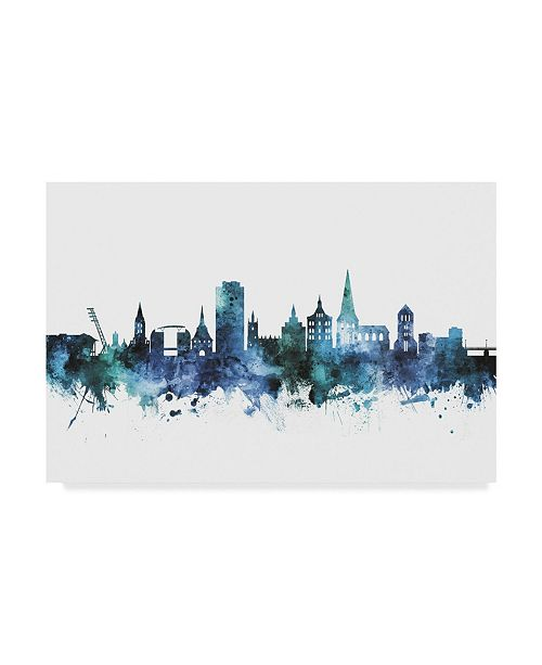 "Trademark Global Michael Tompsett 'Rostock Germany Blue Teal Skyline' Canvas Art - 19"" x 12"""