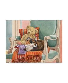 "Francien Van Westering 'Cat And Teddy Bear' Canvas Art - 19"" x 14"""