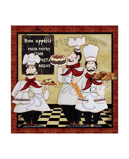 "Trademark Global Jean Plout 'Bistro French Chefs 1' Canvas Art - 18"" x 18"""