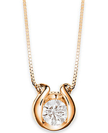Sirena 14k Gold Necklace, Bezel-Set Diamond Accent Pendant