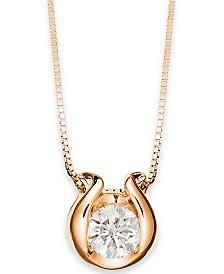 Sirena Bezel-Set Diamond (1/12 ct. t.w.) Pendant Necklace in 14k Gold