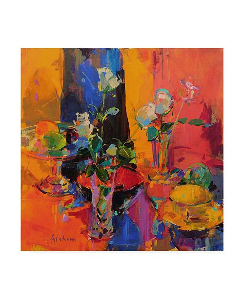"""Trademark Global Peter Graham 'Still Life Table With Roses And Fruit' Canvas Art - 14"""" x 14"""""""