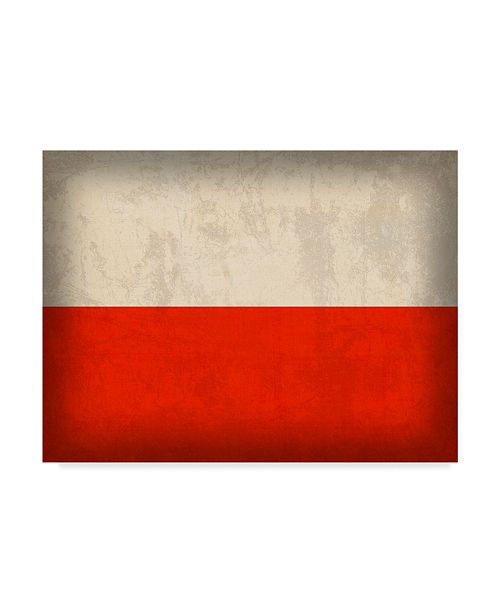 "Trademark Global Red Atlas Designs 'Poland Distressed Flag' Canvas Art - 19"" x 14"""