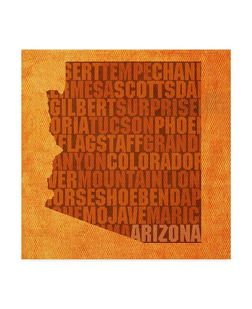 "Trademark Global Red Atlas Designs 'Arizona State Words' Canvas Art - 14"" x 14"""
