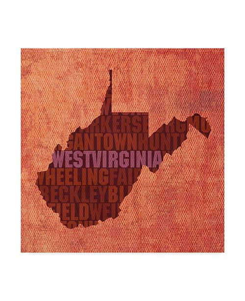 "Trademark Global Red Atlas Designs 'West Virginia State Words' Canvas Art - 18"" x 18"""