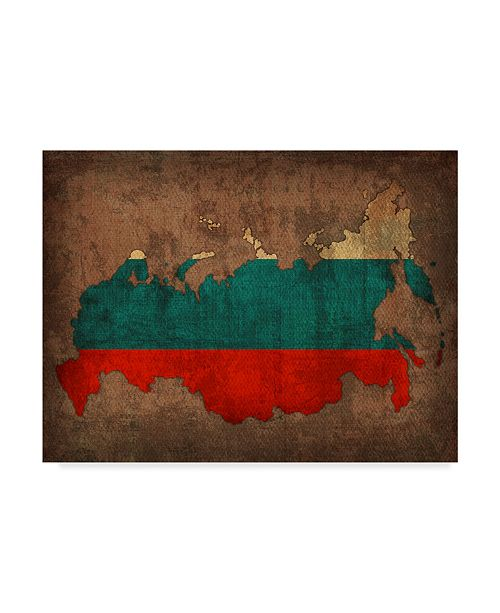 """Trademark Global Red Atlas Designs 'Russia Country Flag Map' Canvas Art - 19"""" x 14"""""""