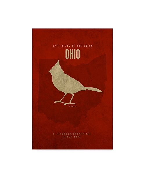 "Trademark Global Red Atlas Designs 'State Animal Ohio' Canvas Art - 12"" x 19"""