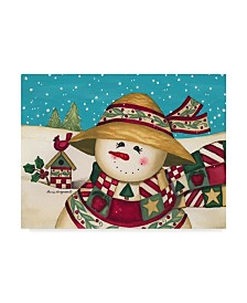 "Laurie Korsgaden 'Rustic Snowman' Canvas Art - 24"" x 18"""