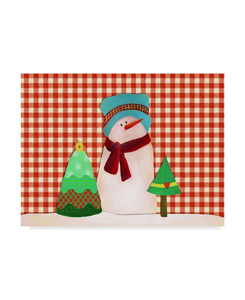 """Trademark Global Leslie Wing 'Snowman With Teal Hat With Christmas Trees' Canvas Art - 19"""" x 14"""""""