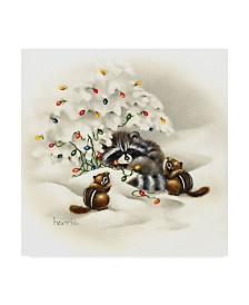 "Peggy Harris 'Raccoon Christmas Lights' Canvas Art - 18"" x 18"""