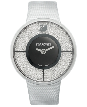Swarovski Watch, Women's Swiss Crystalline Silver-Tone Structured Fabric Strap 40mm