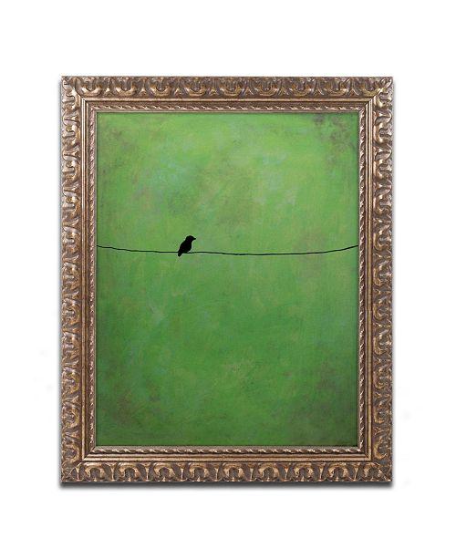 "Trademark Global Nicole Dietz 'Lone Bird Green' Ornate Framed Art - 16"" x 20"""