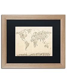 "Michael Tompsett 'Music Note World Map' Matted Framed Art - 16"" x 20"""