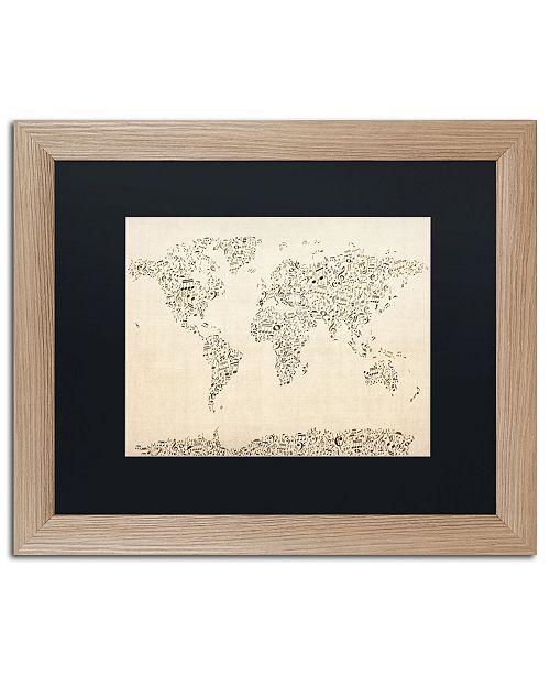 "Trademark Global Michael Tompsett 'Music Note World Map' Matted Framed Art - 16"" x 20"""