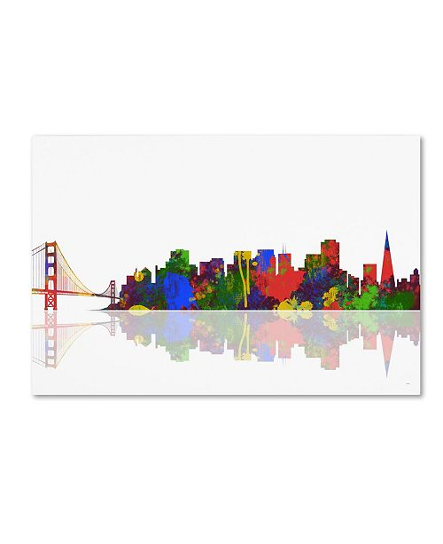 "Trademark Global Marlene Watson 'San Francisco California Skyline II' Canvas Art - 16"" x 24"""