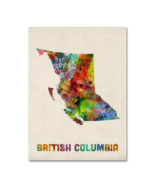 "Trademark Global Michael Tompsett 'British Columbia Watercolor Map' Canvas Art - 18"" x 24"""