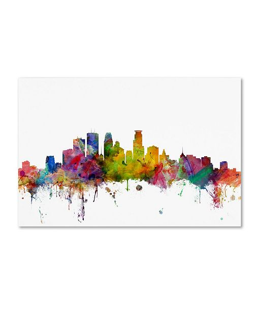 "Trademark Global Michael Tompsett 'Minneapolis Minnesota Skyline' Canvas Art - 16"" x 24"""