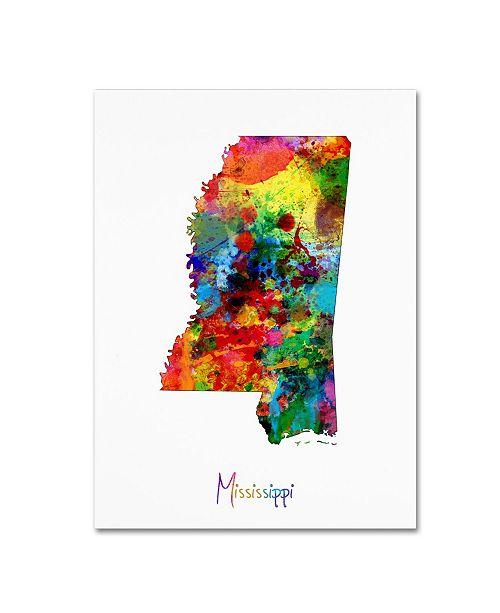 "Trademark Global Michael Tompsett 'Mississippi Map' Canvas Art - 18"" x 24"""