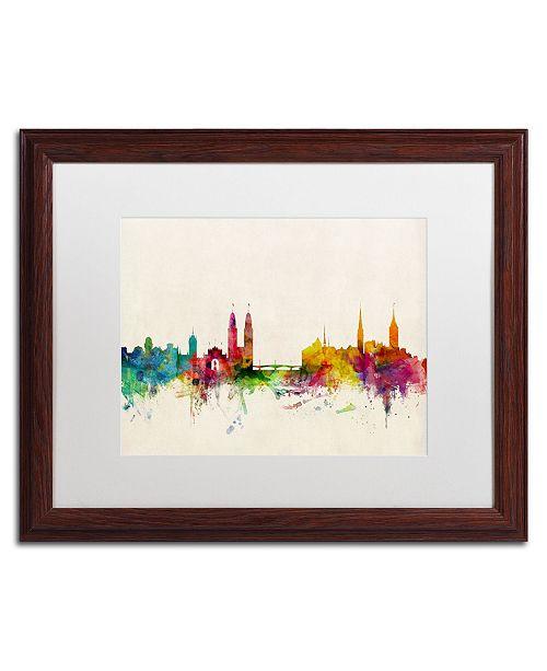 "Trademark Global Michael Tompsett 'Zurich Switzerland Skyline' Matted Framed Art - 16"" x 20"""