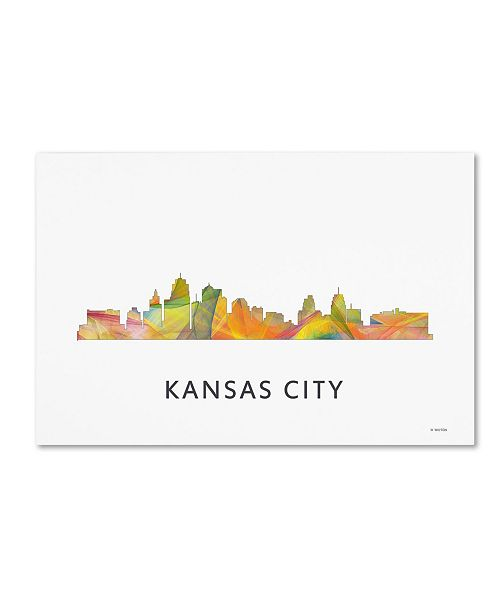 "Trademark Global Marlene Watson 'Kansas City Missouri Skyline WB-1' Canvas Art - 30"" x 47"""